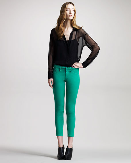 Skinny Green Capri Jeans