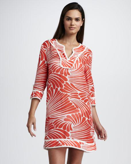 gwen printed linen-silk tunic