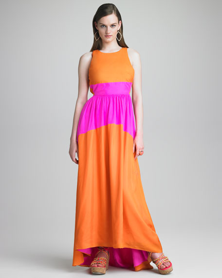 Tibi Featherweight Sleeveless Colorblock Maxi Dress