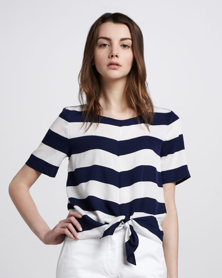 Short-Sleeve Tie-Front Stripe Blouse