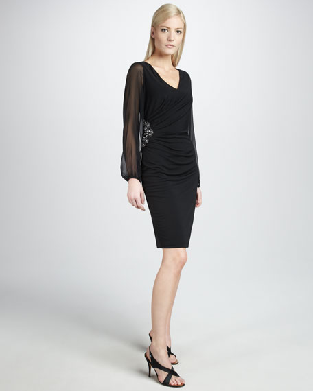Illusion-Sleeve Cocktail Dress, Women's