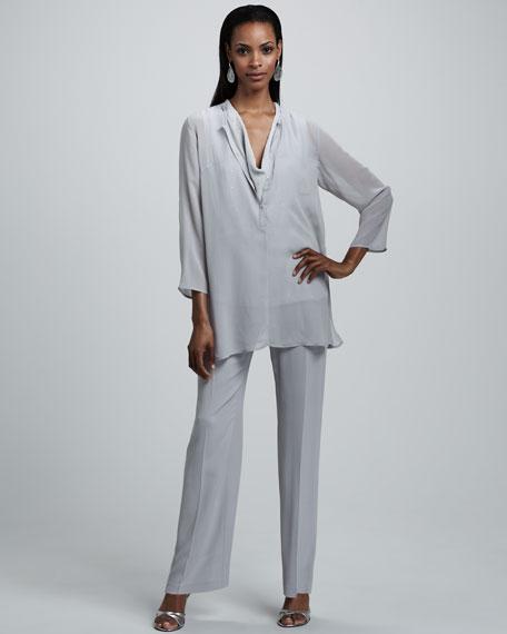 Silk-Georgette Straight-Leg Pants, Women's