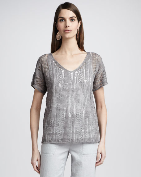 Precious Metal Sheer Knit Top, Women's