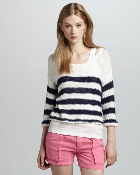 Paris Stripe Cropped Sweater