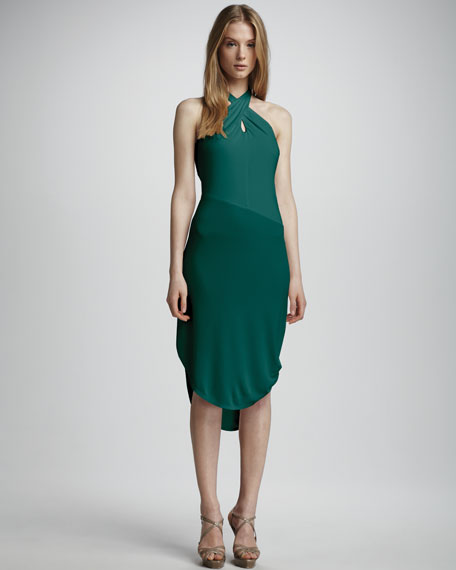 Cross-Neck Asymmetric Dress