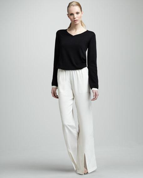 Silk Pull-On Pants