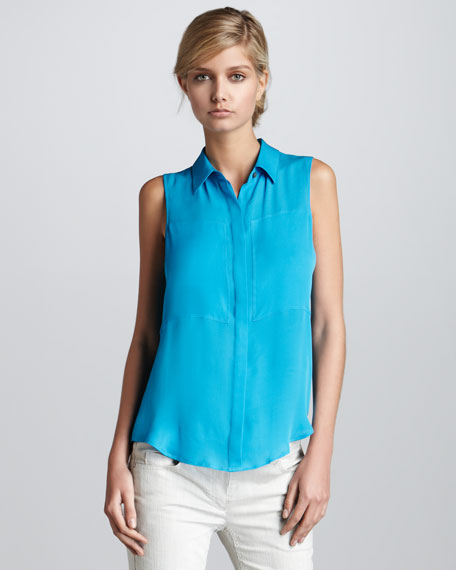 Sleeveless Blouse, Blue