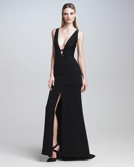 Deep V Fringe Gown