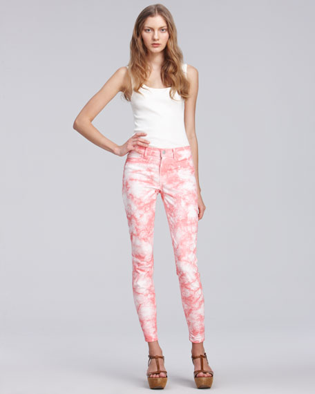 810 Twisted Coral Tie-Dye Skinny Jeans
