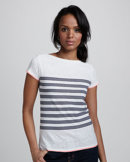 Short-Sleeve Striped Cotton Tee