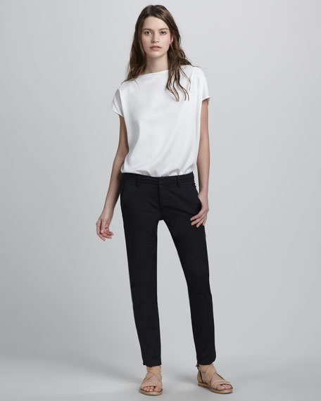 Slim Twill Pants, Black