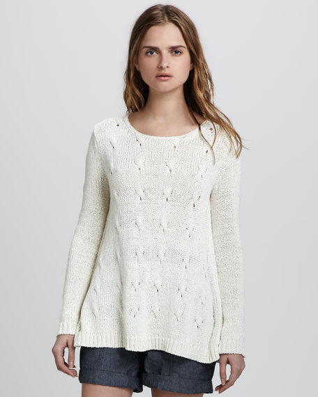 Cable-Stripe Knit Sweater