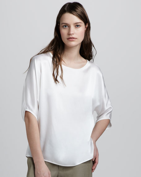 Boxy Silk Blouse, White