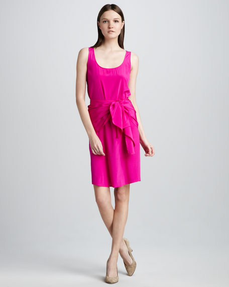 Stretch-Silk Tie Dress