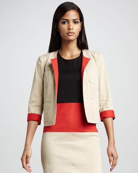 Twill Contrast-Cuff Jacket