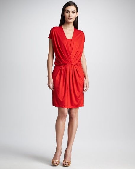 Drop-Shoulder V-Neck Dress