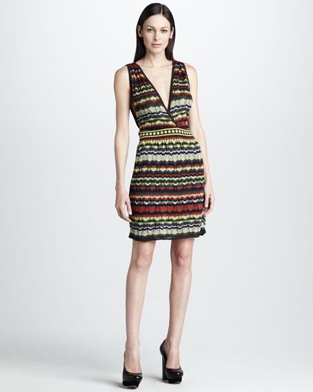 Pattern-Stripe Surplice Dress