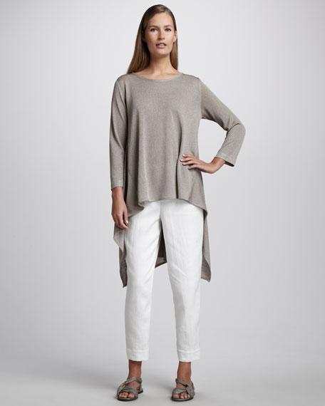 Linen Capri Pants, White