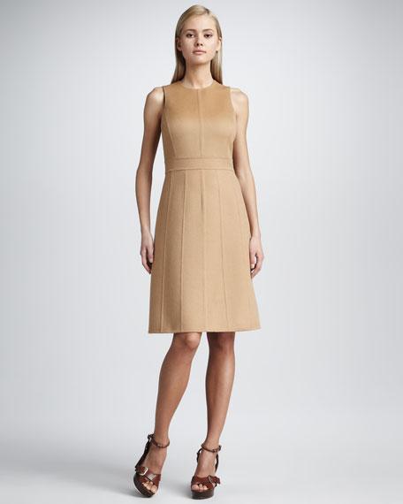 Sleeveless Flare Dress, Suntan