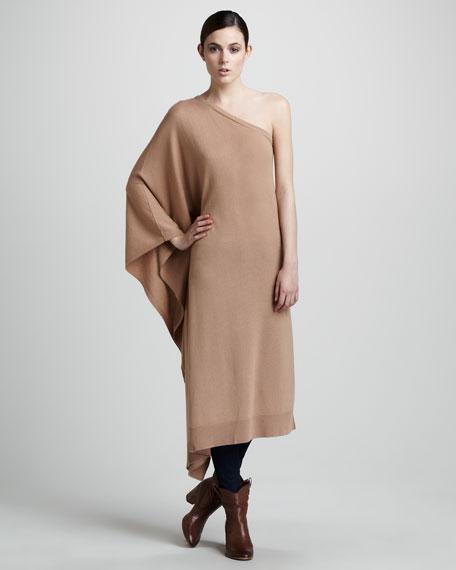 One-Shoulder Cashmere Poncho, Suntan