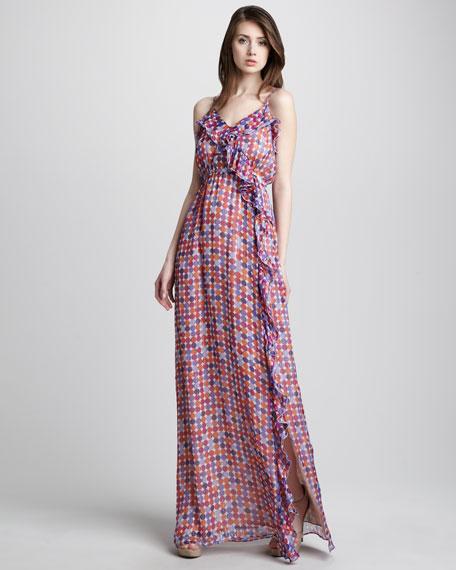 Ruffled Dot-Print Maxi Dress
