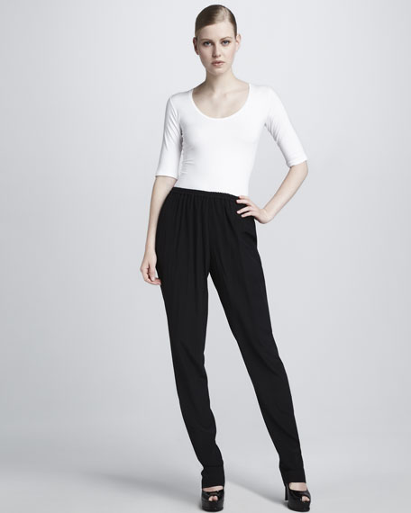 Washed Crepe de Chine Pants
