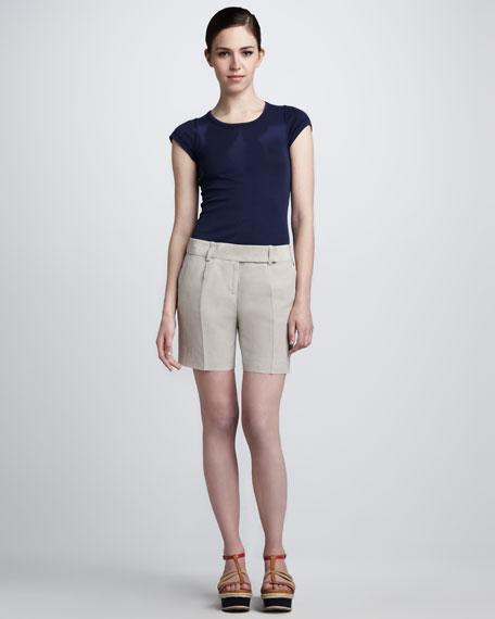 Washed Linen-Silk Shorts