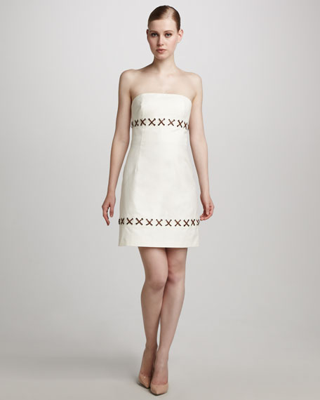 Threaded Canvas Dress, Ecru