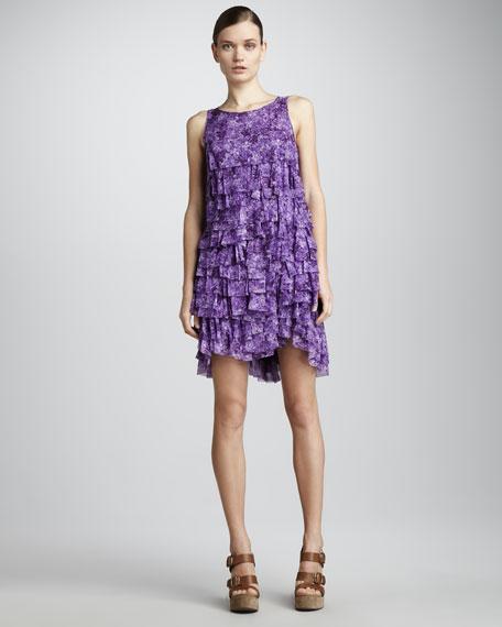 Ruffled Chiffon Shift Dress, Lilac