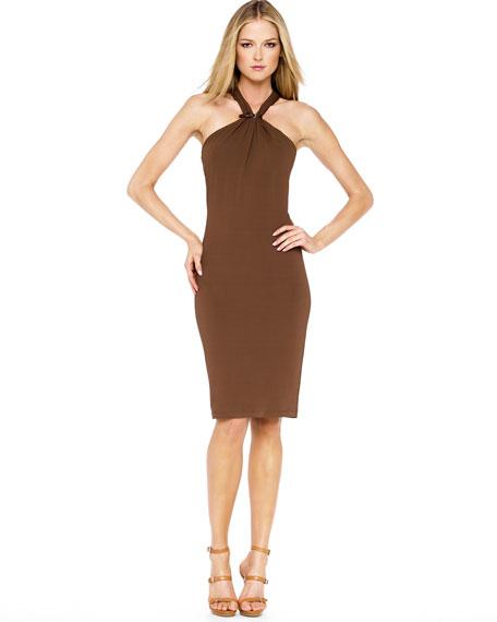 Leather-Buckle Halter Dress