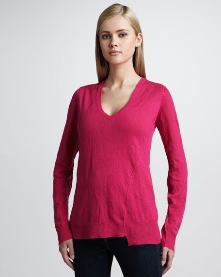 Crushed-Cashmere Asymmetric Sweater, Zinnia