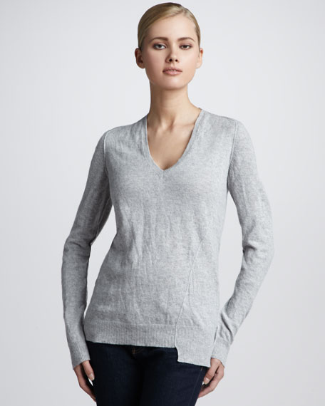Crushed-Cashmere Asymmetric Sweater, Pearl