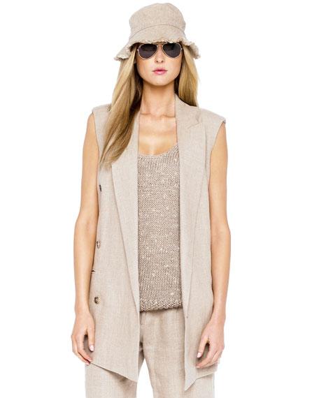 Linen Sleeveless Jacket