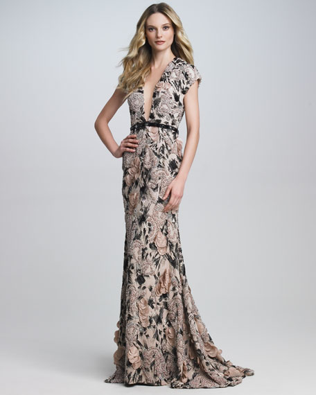 Deep V-Neck Printed Gown