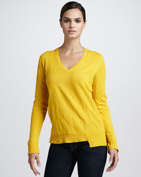 Crushed-Cashmere Asymmetric Sweater, Daffodil
