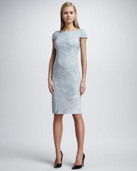 Marble-Print Sheath Dress, Cement
