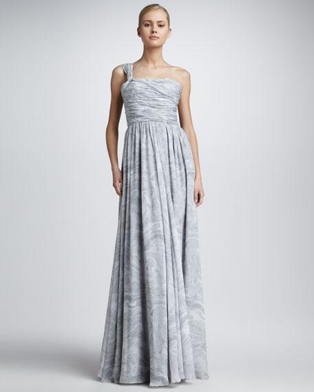 Marble-Print One-Shoulder Dress