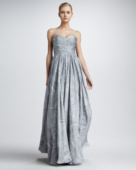 Marble-Print Strapless Gown