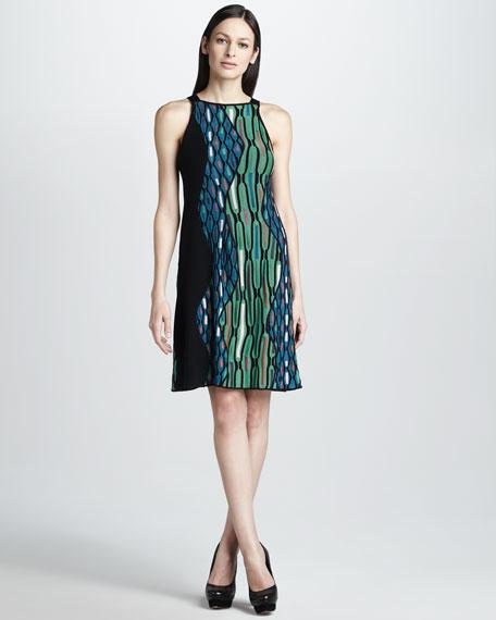 Hexagon-Stripe Knit Dress