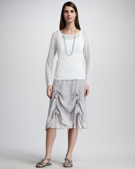 Linen Pull-Cord Skirt, Petite