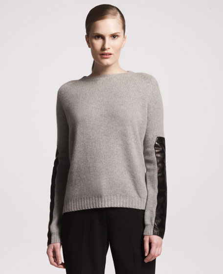 Leather-Sleeve Cashmere Sweater