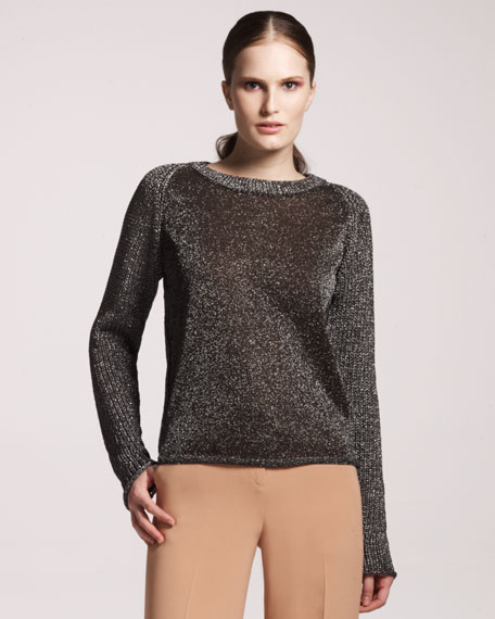Metallic Combo Knit Crewneck Sweater