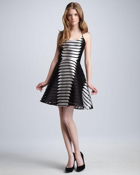 Shadow-Stripe Skater Dress