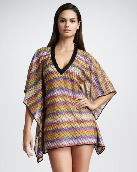 Zigzag-Stripe Short Caftan