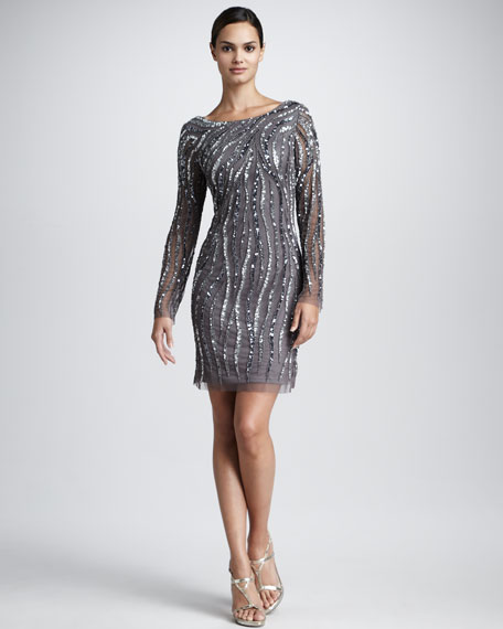 Animal-Beaded Cocktail Dress, Women's