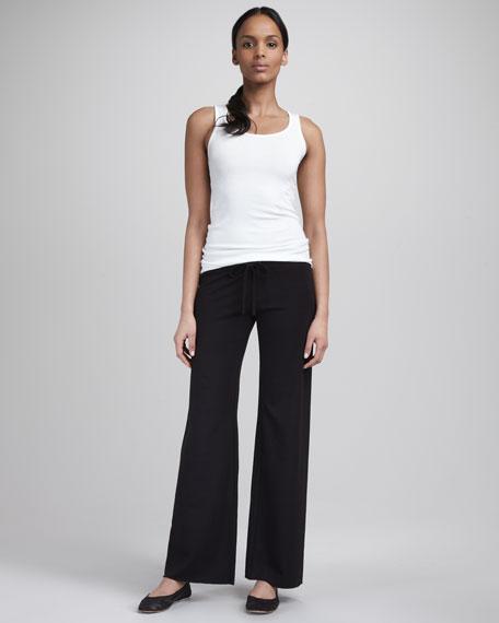 Knit Drawstring Pants, Black