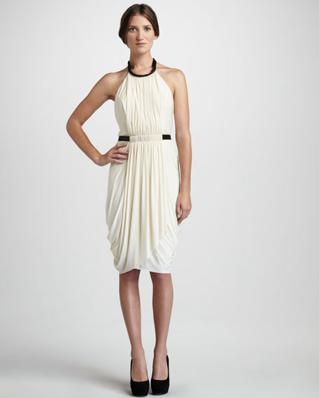 Rowan Leather-Detail Halter Dress
