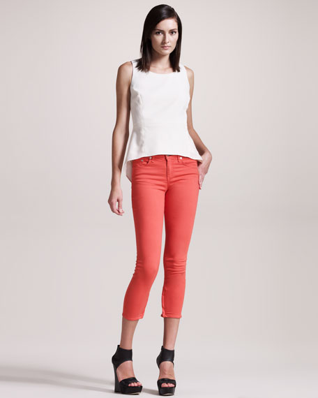 Zipper Vermillion Capri Jeans