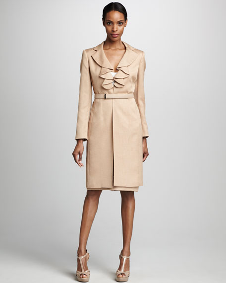 Albert Nipon Belted Jacket & Skirt