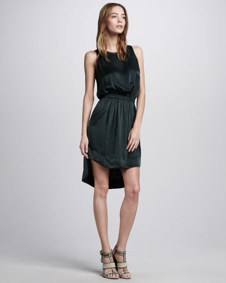 Leather-Trim High-Low Dress